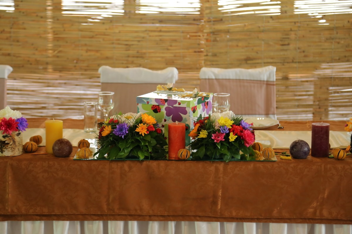 tablecloth, candle, gifts, table, box, structure, flowers, flower, indoors, decoration