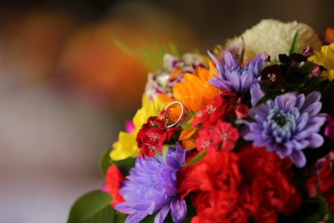 wedding bouquet, wedding ring, flowers, arrangement, colors, flower bud, bouquet, flower, leaf, petal