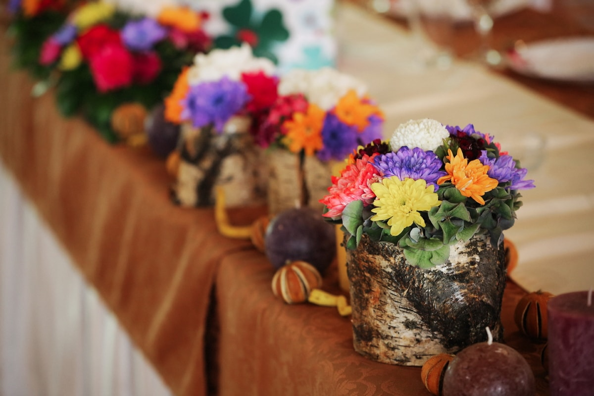 bouquet, dining area, candles, table, tablecloth, flower, interior design, decoration, nature, wood