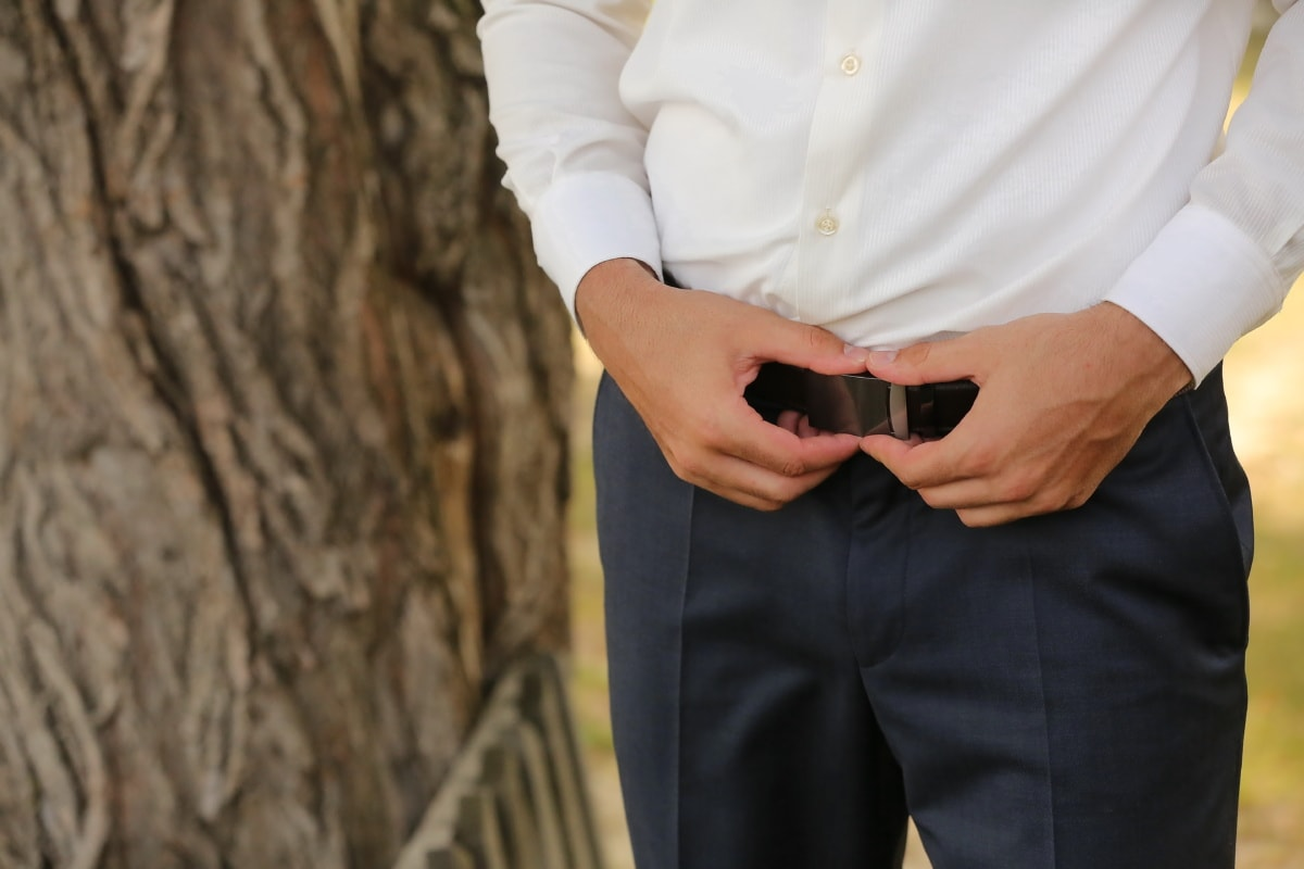 Hose, Riemen, Schnalle, Geschäftsmann, stehende, Hände, Natur, Mode, Mann, Hochzeit