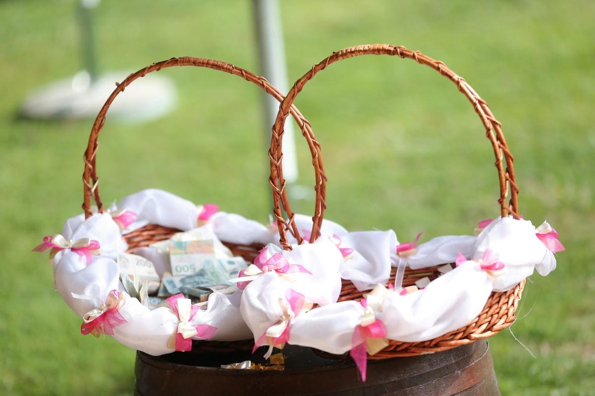 argent, panier en osier, mariage, tradition, billet de banque, panier, conteneur, en osier, célébration, baril