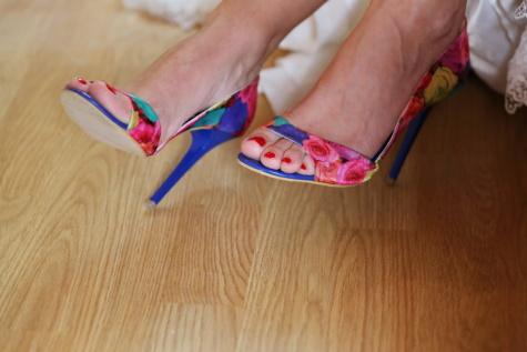 kleurrijke, zomer, sandaal, hakken, manicure, voet, blote voeten, vinger, aantrekkingskracht, schoeisel