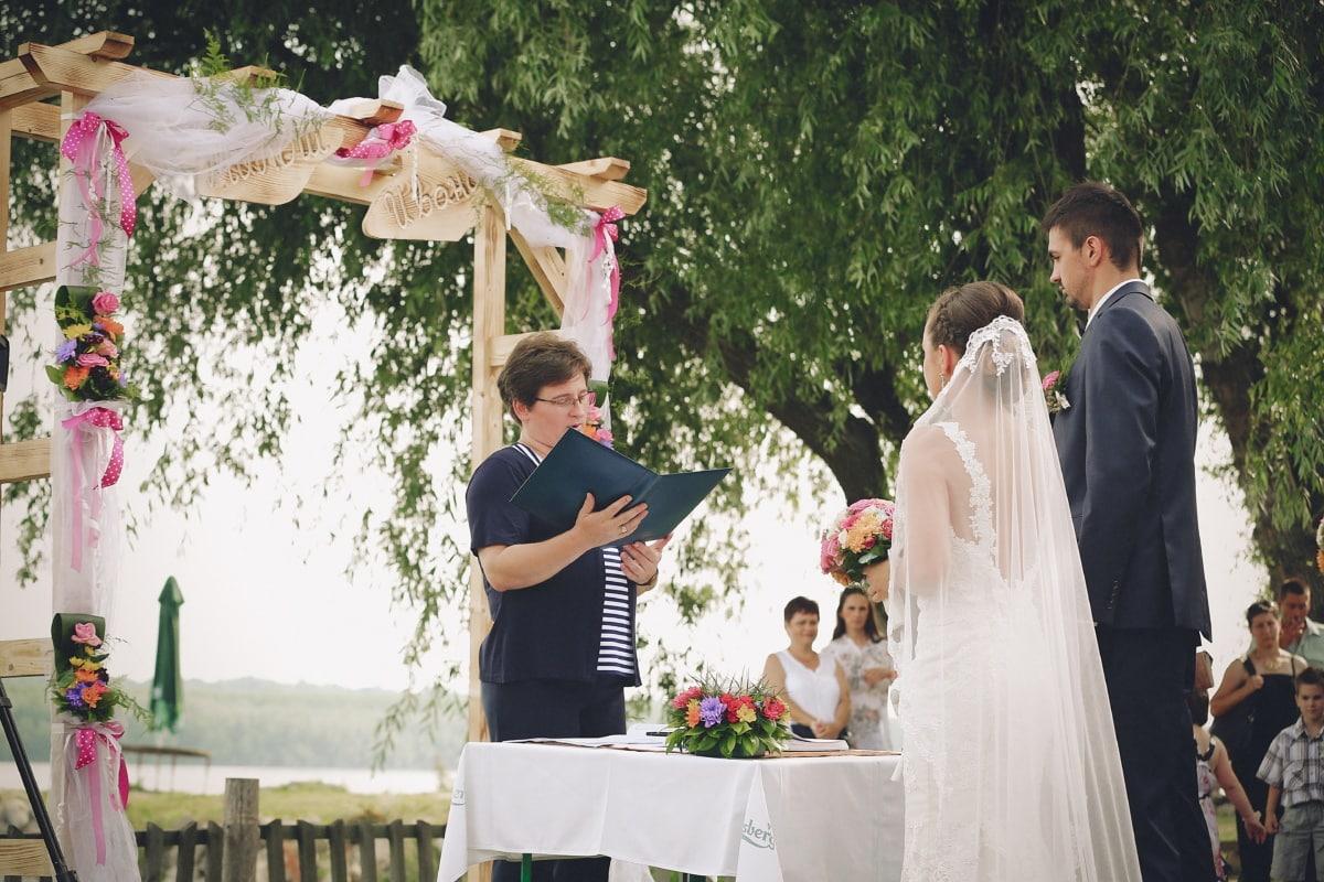 mariage, mariage, officiel, cérémonie, la mariée, livre, jeune marié, couple, amour, robe