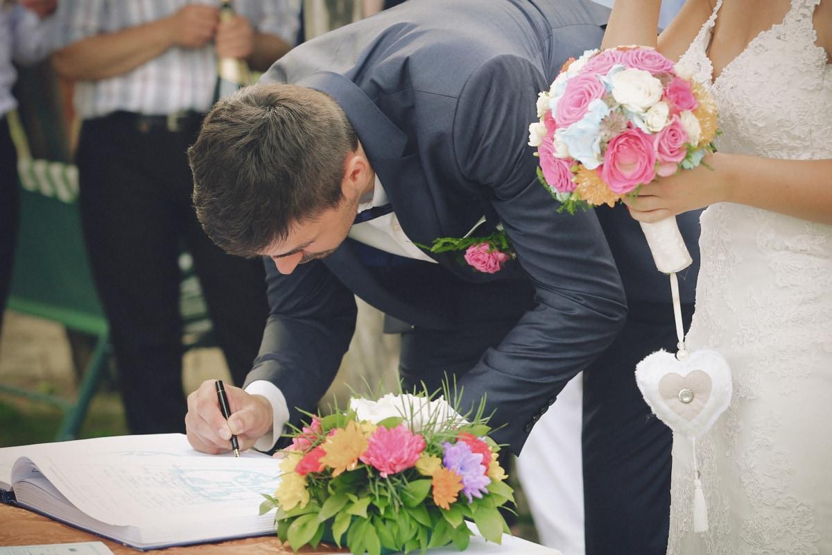 ceremony, wedding, husband, wedding dress, marriage, pencil, suit, document, bouquet, woman