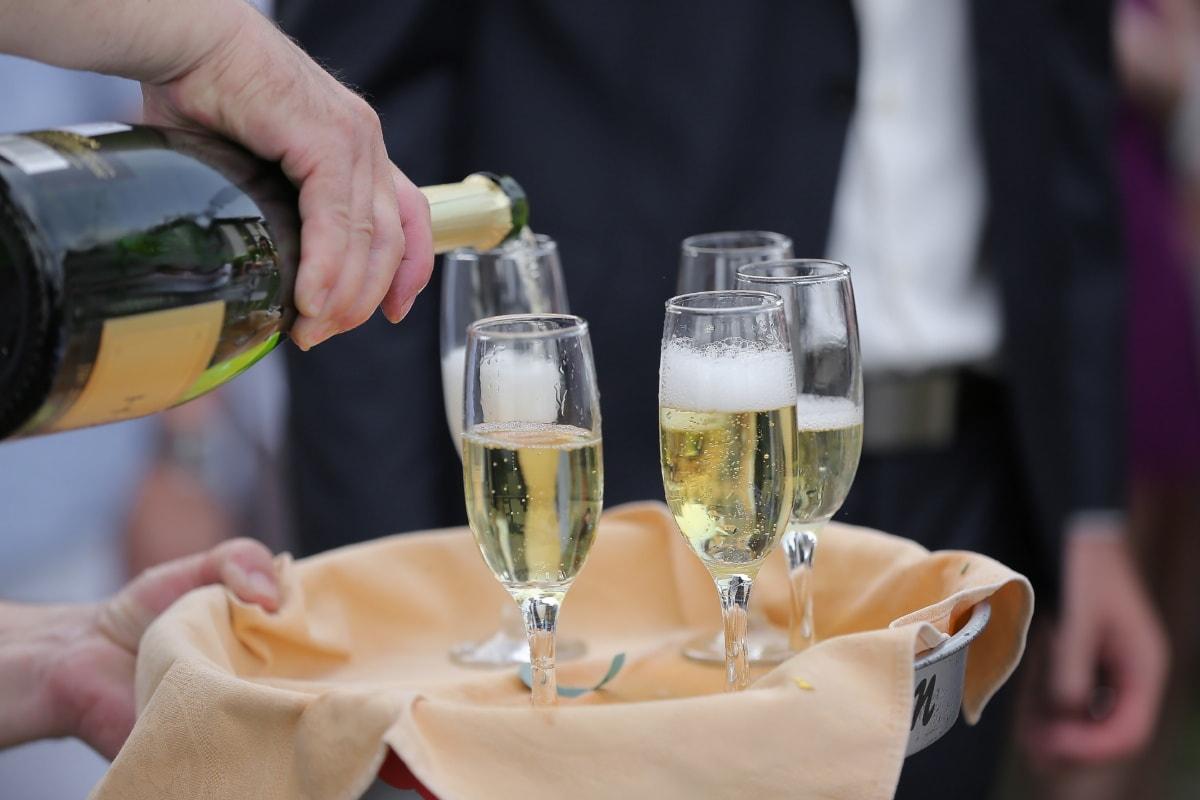 Flasche, Champagner, Weißwein, Zeremonie, Trinken, Partei, Feier, Kristall, Alkohol, Glas