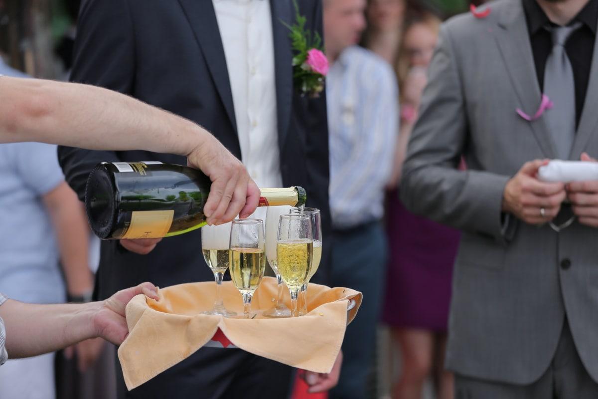 champagne, bartender, ceremony, celebration, white wine, wine, woman, wedding, groom, toast
