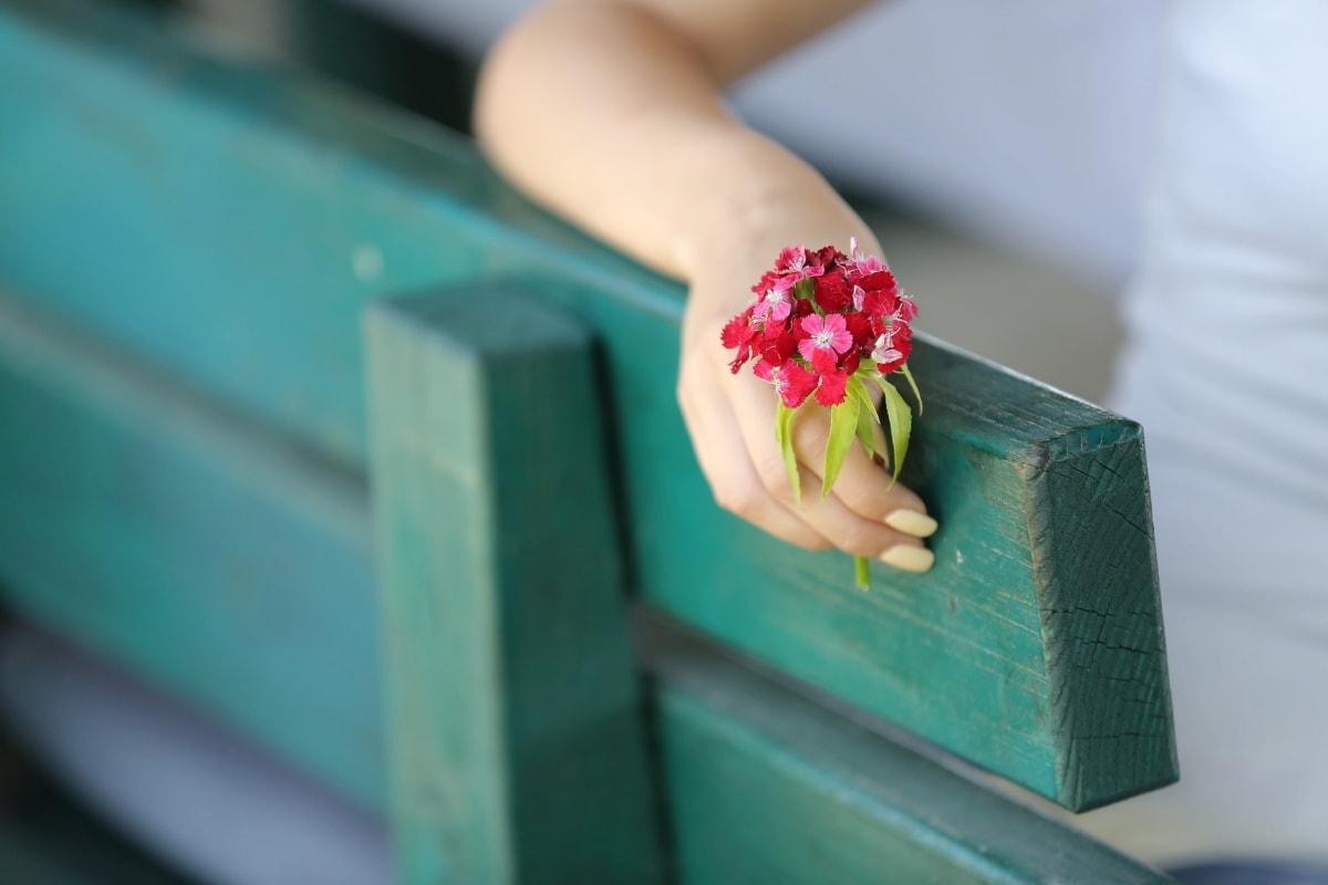 hand, flowers, bench, manicure, arm, romantic, finger, flower, pink, skin