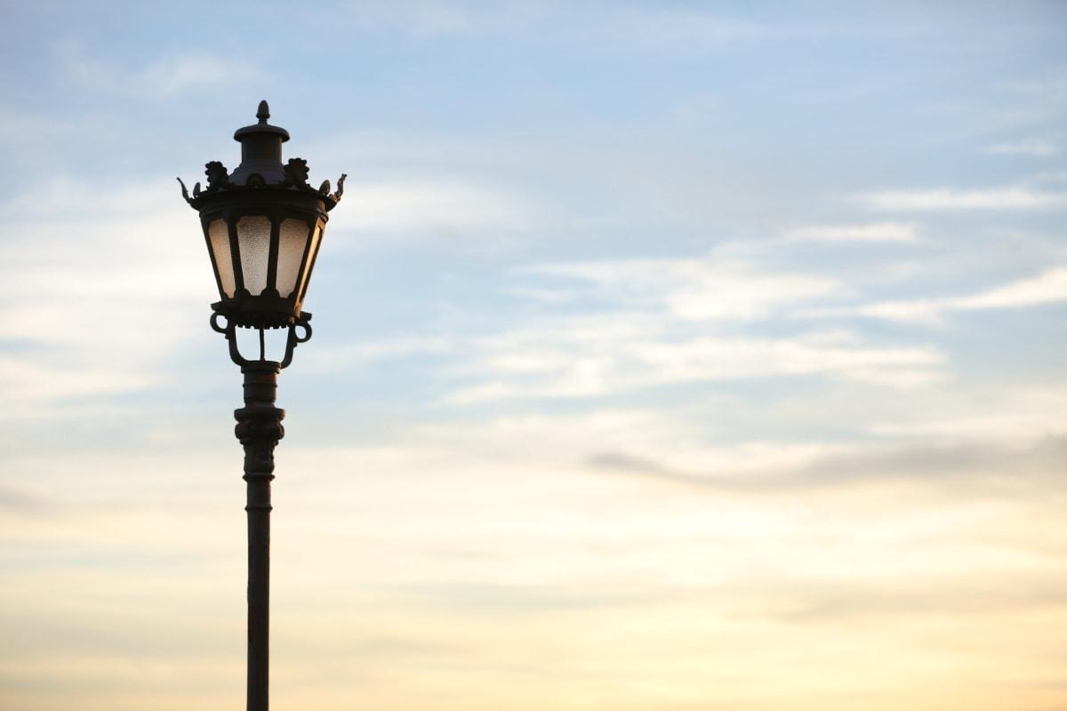 artistic, cast iron, lamp, still life, sunset, architecture, light, clouds, silhouette, cloud