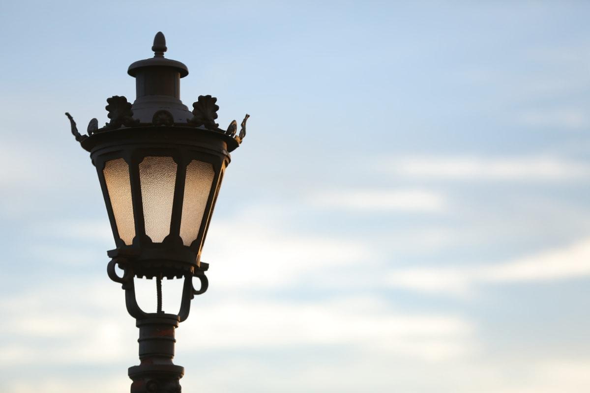 din fonta, lampa, iluminare din spate, baroc, lumina, metal, vechi, nor, nori, detaliu