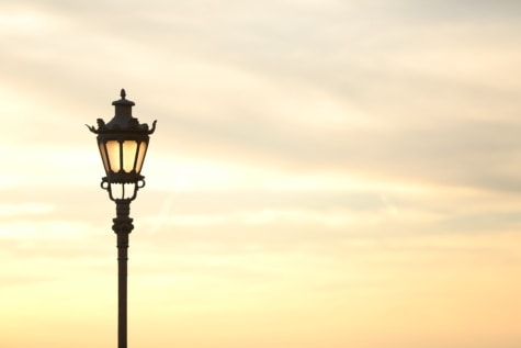 sunshine, cast iron, lamp, baroque, outdoor, detail, silhouette, cloud, backlight, iron