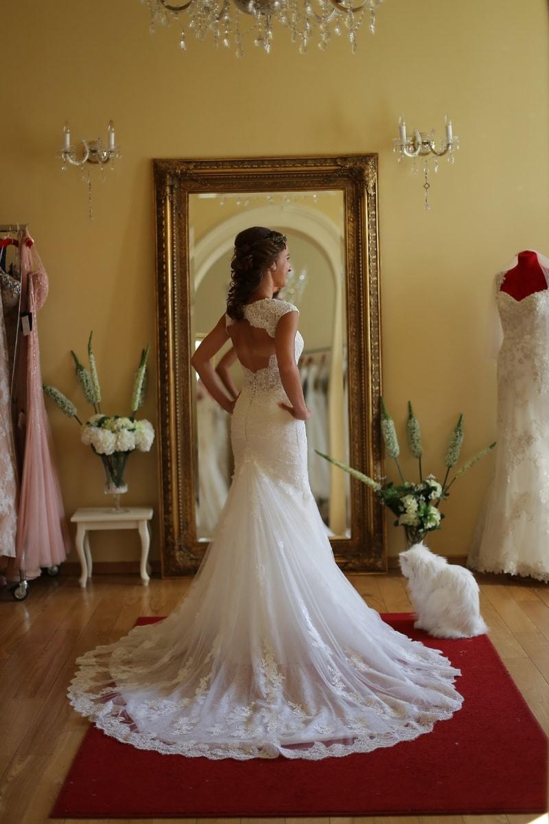 putiikki, morsian, hääpuku, ostokset, Salon, Shopper, hohto, punainen matto, naimisissa, avioliitto
