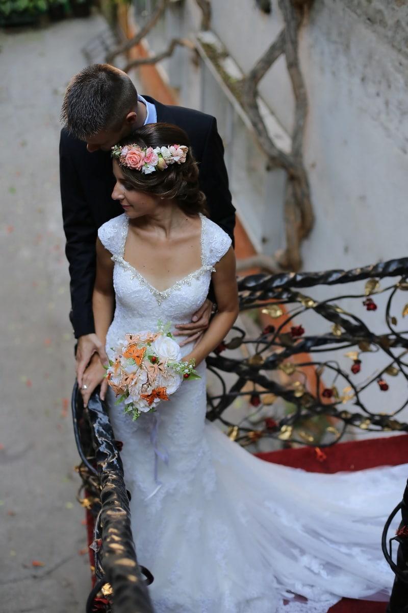 romance, bouquet de mariage, charme, robe de mariée, tapis rouge, costume, mode, gens, mariage, la mariée