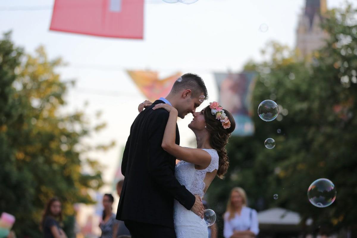 bride, groom, bauble, hugging, outdoor, person, man, people, happy, fun