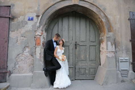front door, old, entrance, bride, facade, groom, wedding, people, door, street