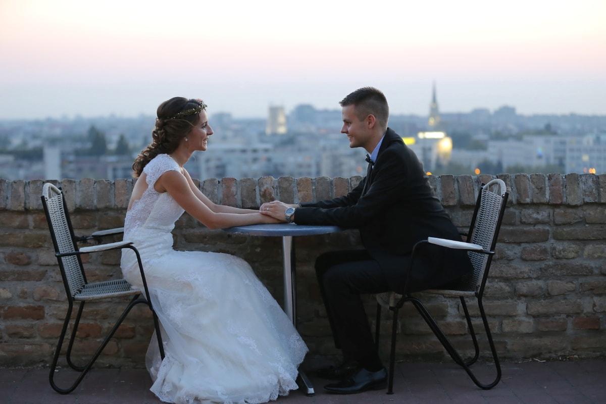 happiness, joy, wedding, bride, wedding dress, groom, sitting, man, love, people