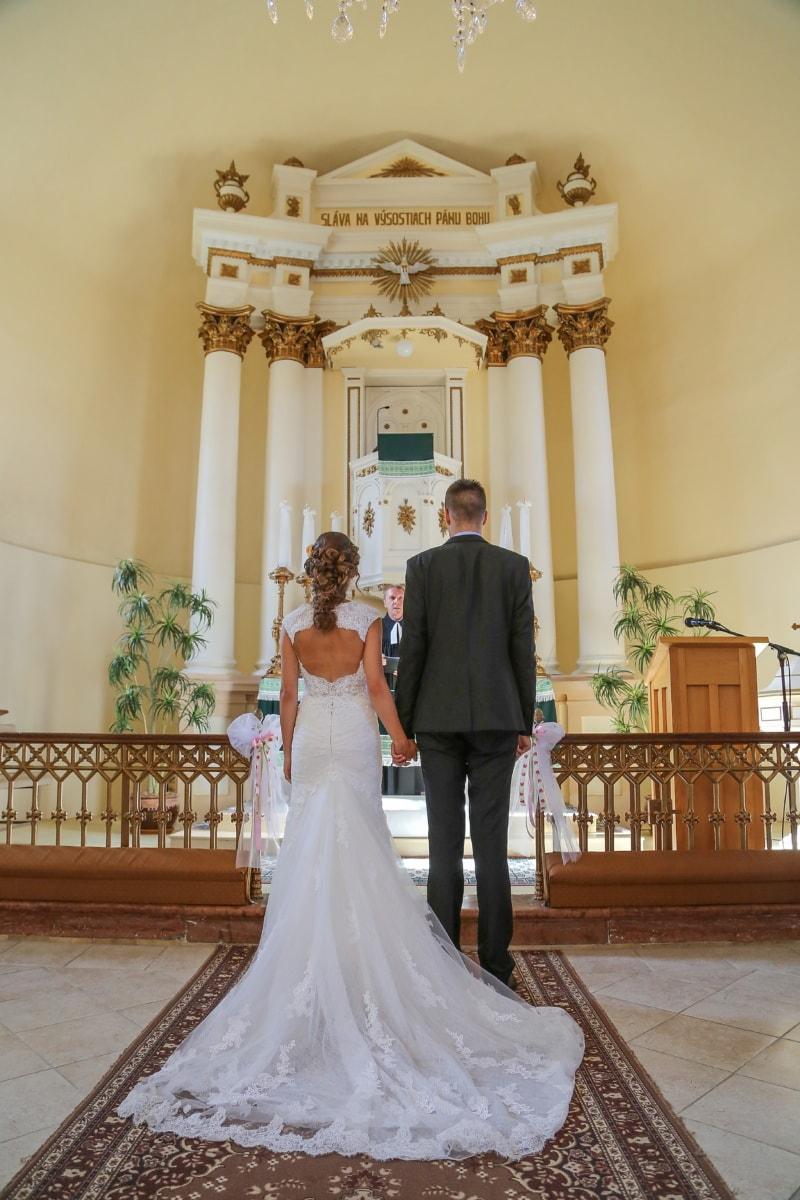 Hochzeit, katholische, Christian, Kirche, Bräutigam, Priester, Braut, Zeremonie, Hochzeitskleid, Kleid