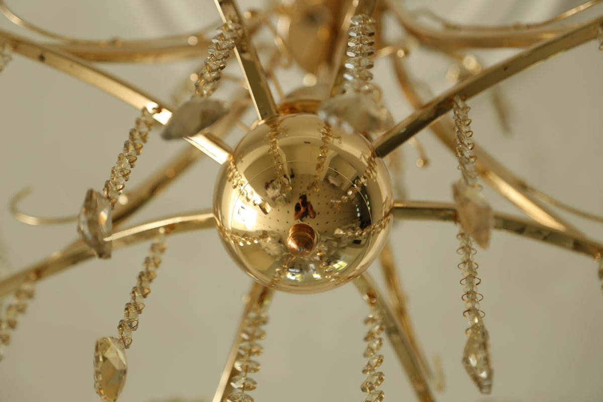 chandelier, gold, golden glow, crystal, shining, luxury, christmas, brass, indoors, hanging
