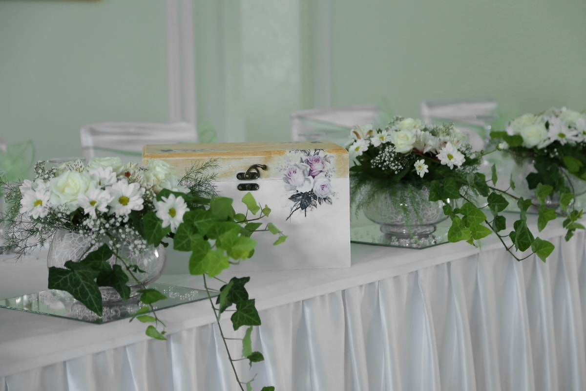 im Feld, Geschenke, elegant, Essbereich, Vase, Hochzeit, Blumen, Blume, Blumenstrauß, Anordnung