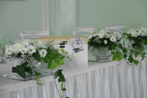 box, gifts, elegant, dining area, vase, wedding, flowers, flower, bouquet, arrangement