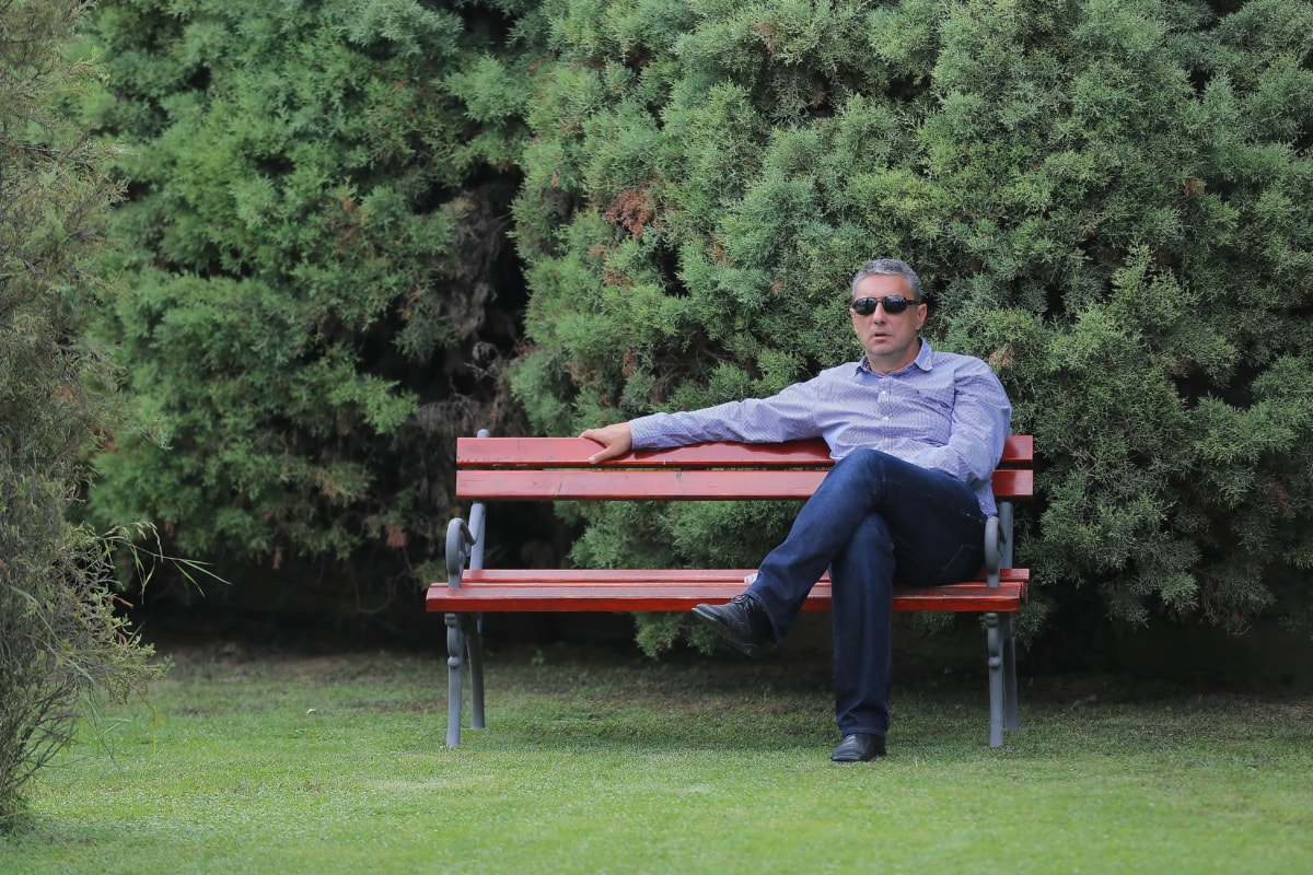 businessman, bench, relaxation, sitting, park, conifers, shoes, pants, seat, furniture