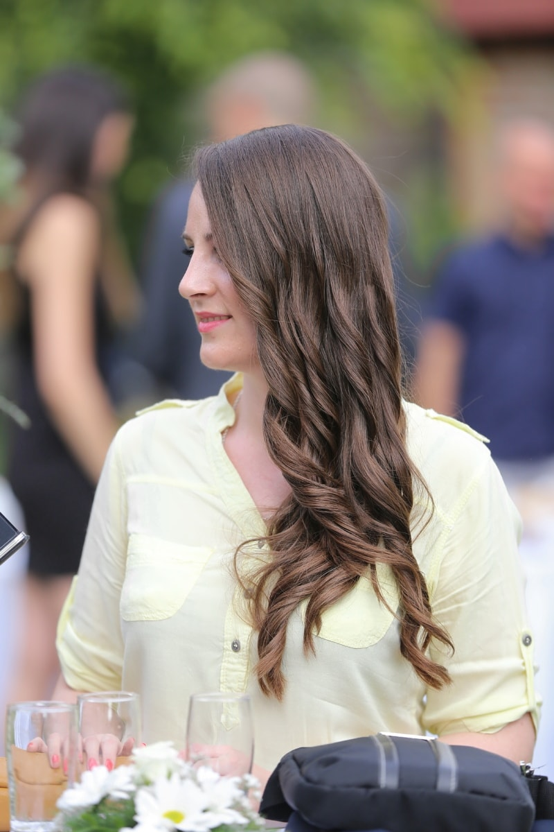 дълъг, коса, прическа, блясък, портрет, жена, на открито, хора, лято, природата