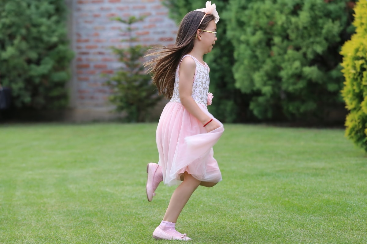 pretty girl, childhood, playful, running, lawn, dress, backyard, park, outdoors, summer