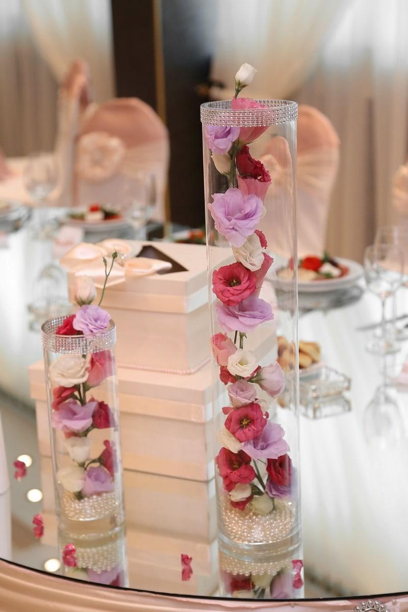 vase, des roses, salle à manger, élégance, mariage, réception, élégant, Design d'intérieur, à l'intérieur, luxe