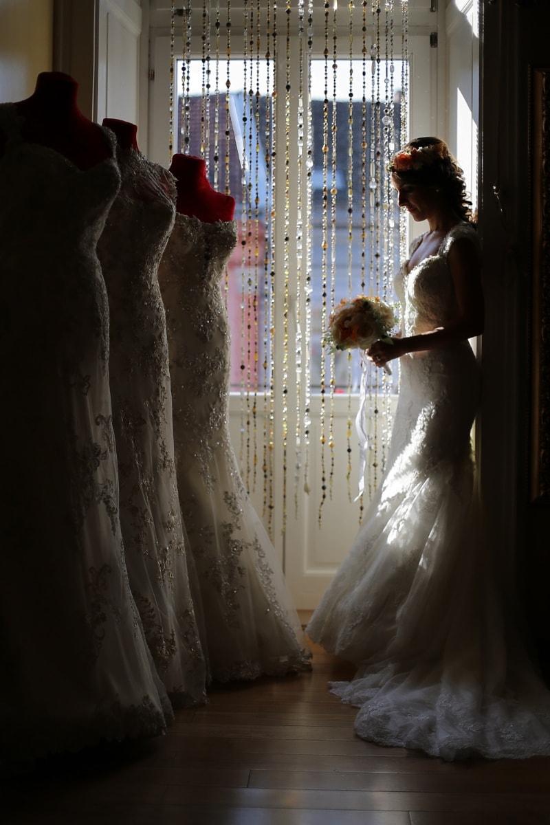 bryllupskjole, salon, shopper, butikk, shopping, mote, kjole, pen jente, bruden, brudgommen