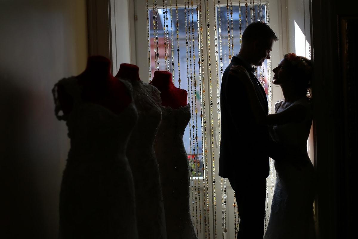 girlfriend, shadow, boyfriend, salon, fashion, wedding dress, shopping, woman, portrait, people