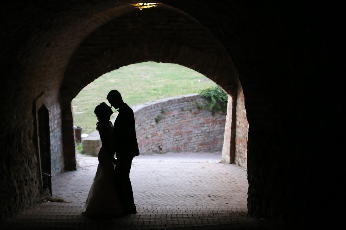 secret, amour, tunnel, petite amie, petit ami, passage, architecture, façon, gens, Pierre