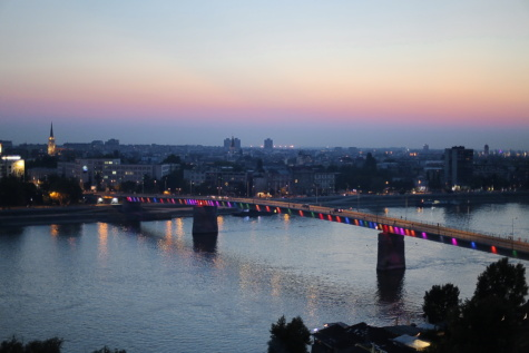 dawn, bridge, panorama, cityscape, waterfront, water, city, river, landscape, coast