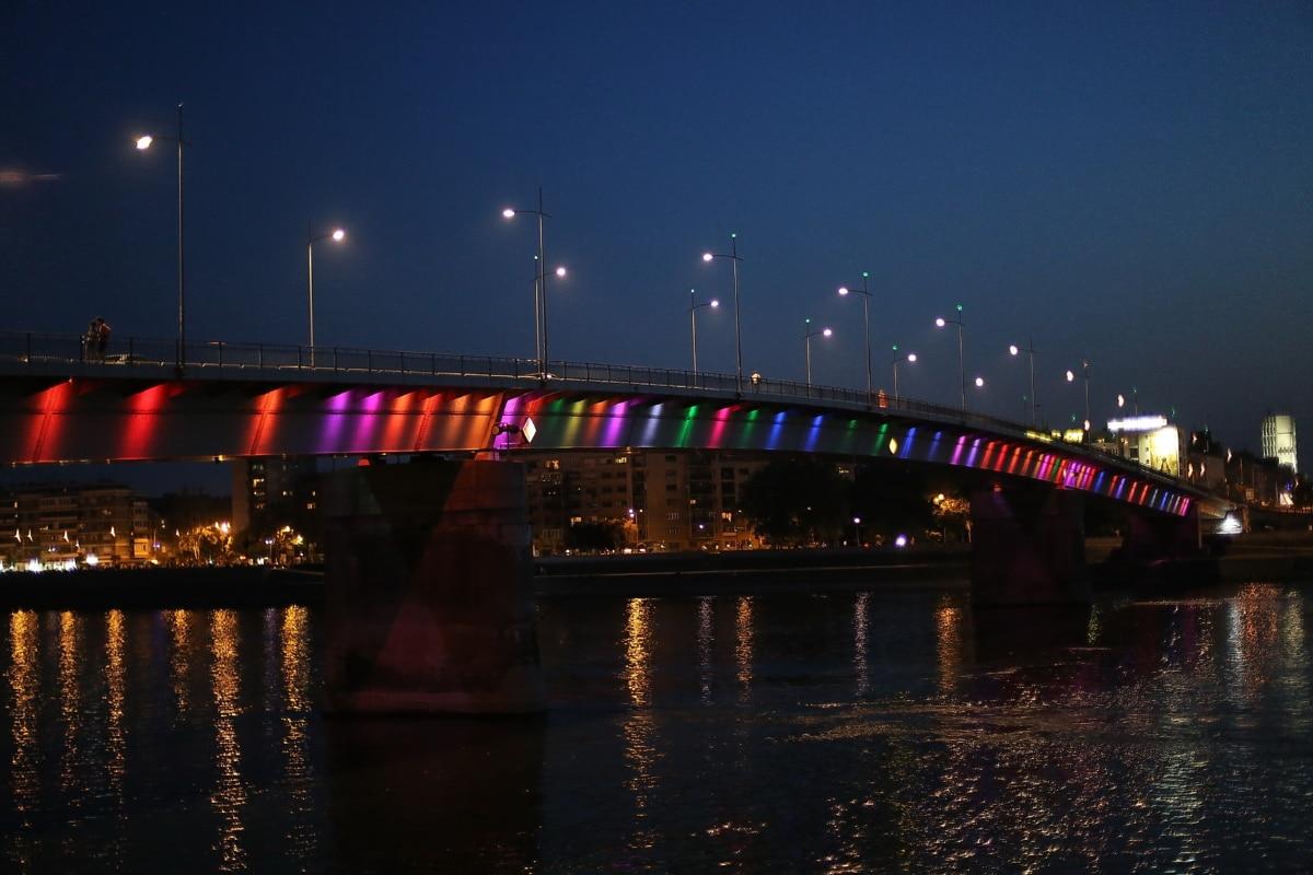 rainbow, evening, bridge, water, ripple, device, structure, pier, river, city