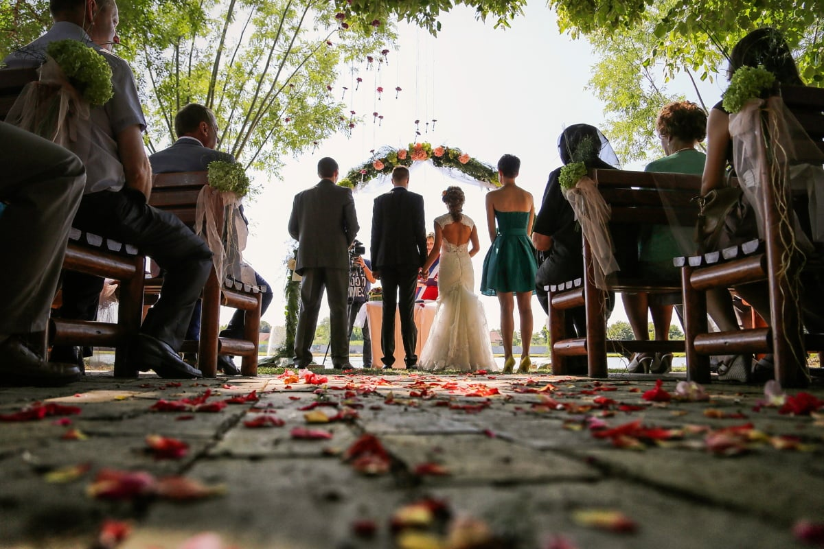 wedding, ceremony, official, marriage, spectator, spectacular, man, person, people, outdoors