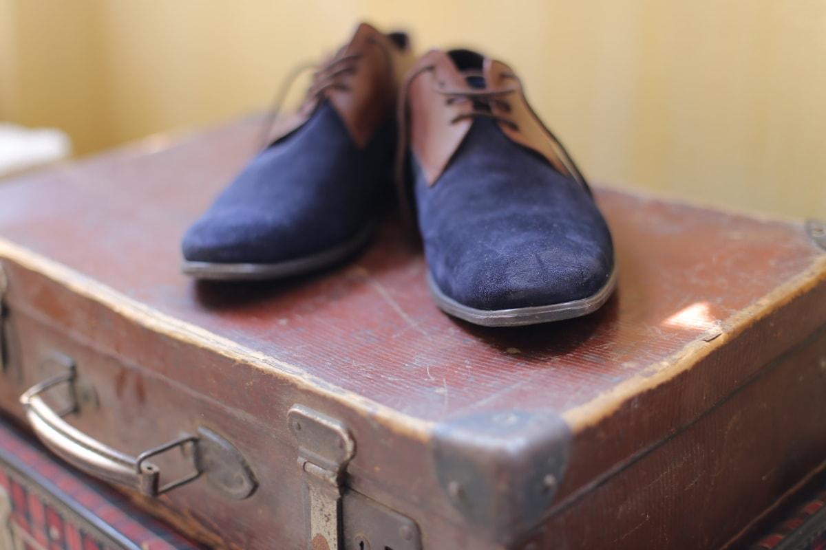 bleu, chaussures, bagages, vêtements, mode, chaussure, chaussures, en cuir, paire, objet