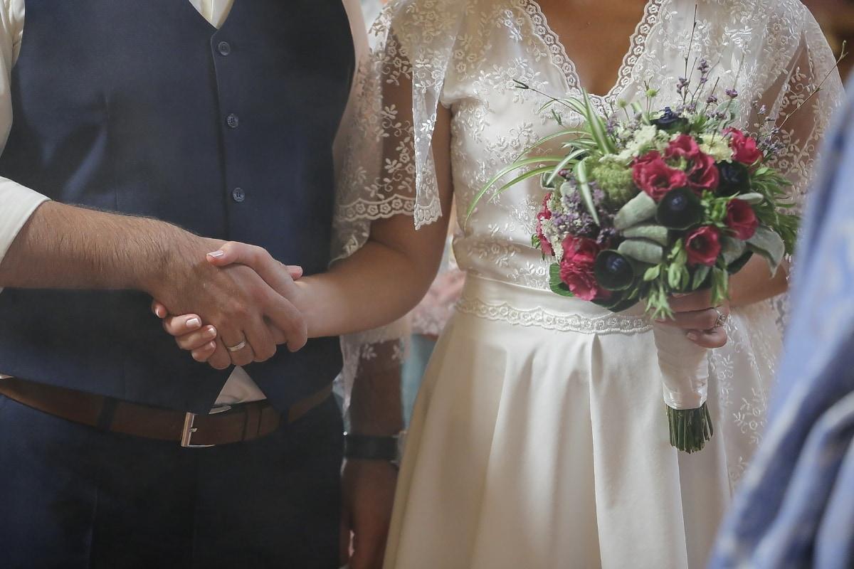 Komfort, Ehe, Ehefrau, Zeremonie, Mann, Ehering, Hochzeitsstrauß, Hochzeitskleid, Bräutigam, Kleid