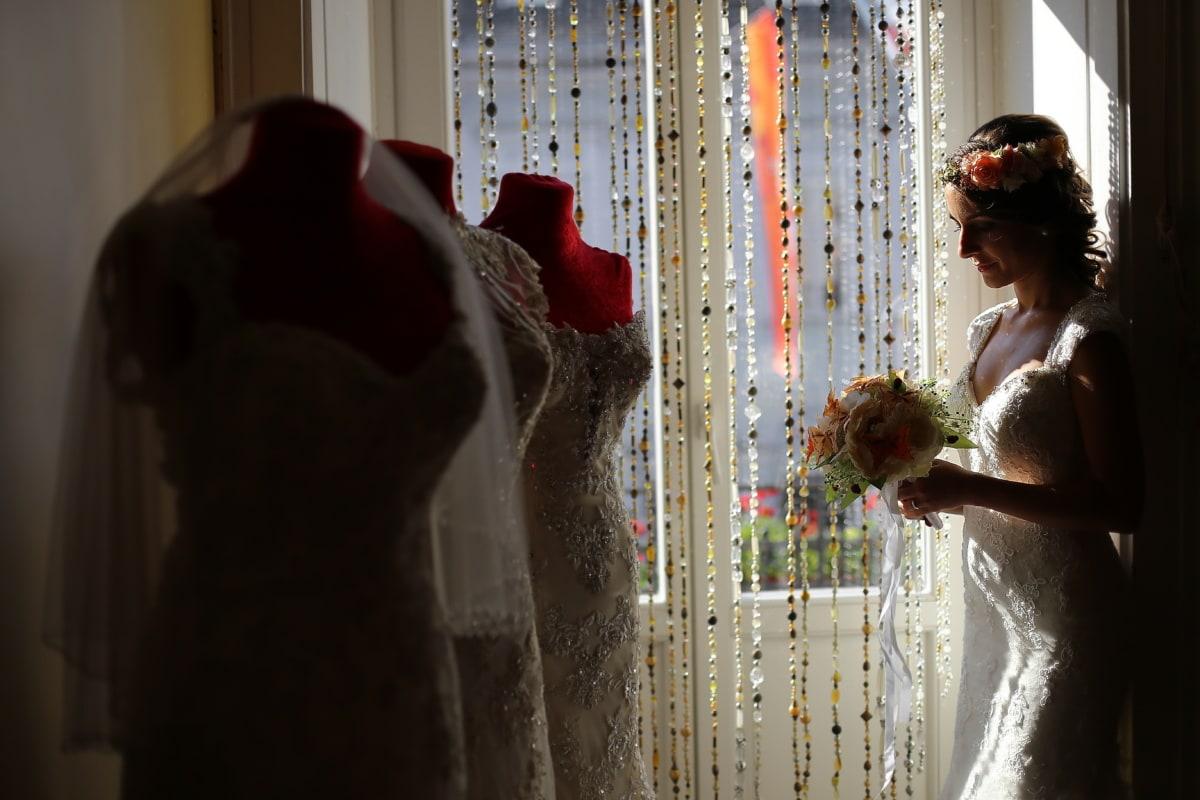 magasin, robe de mariée, Salon, Shopper, Shopping, mariage, jeune fille, femme, gens, la mariée