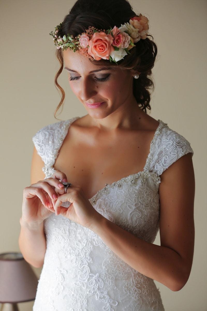 cincin kawin, pernikahan, Pengantin, gaun pengantin, tangan, potret, glamor, model, mode, pakaian