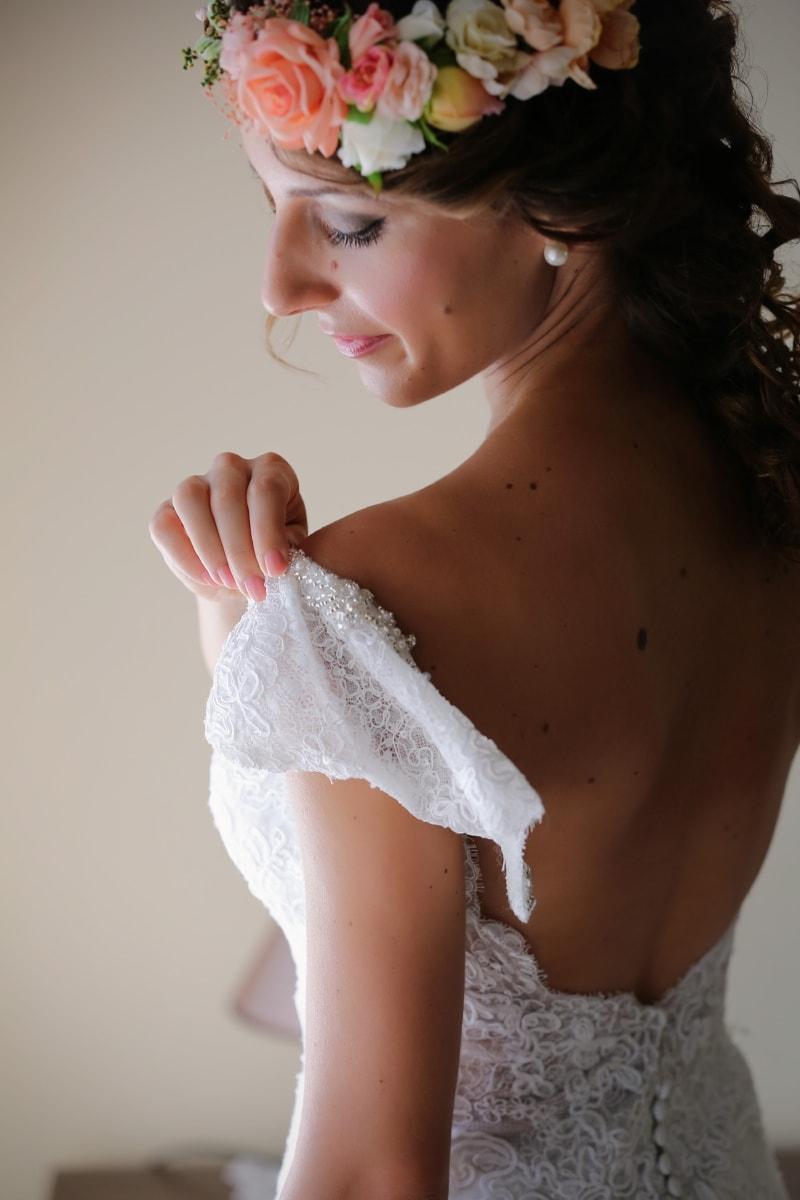 Schulter, Braut, Hochzeitskleid, attraktiv, ziemlich, Frau, Hochzeit, Modell, Mode, Glanz