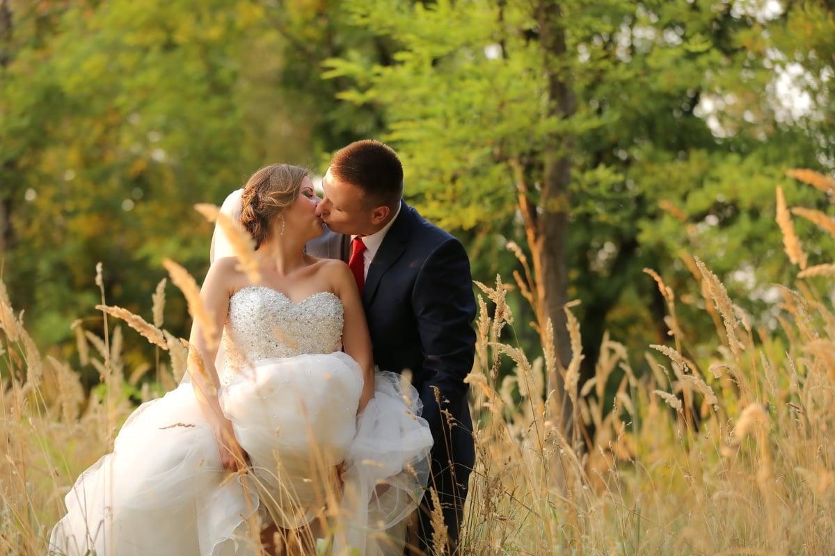 profesional, boda, Fotografía, novio, beso, novia, vestido de novia, temporada de verano, césped, ramo de la