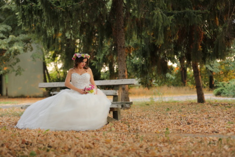 bench, posing, wedding bouquet, wedding dress, park, autumn season, dress, groom, bride, wedding