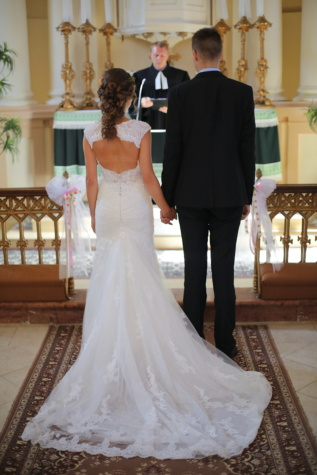 cathedral, catholic, wedding, priest, ceremony, bride, groom, marriage, love, woman