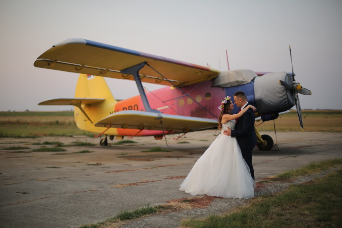 airplane, airport, hug, wedding, embrace, biplane, aircraft, people, military, flight