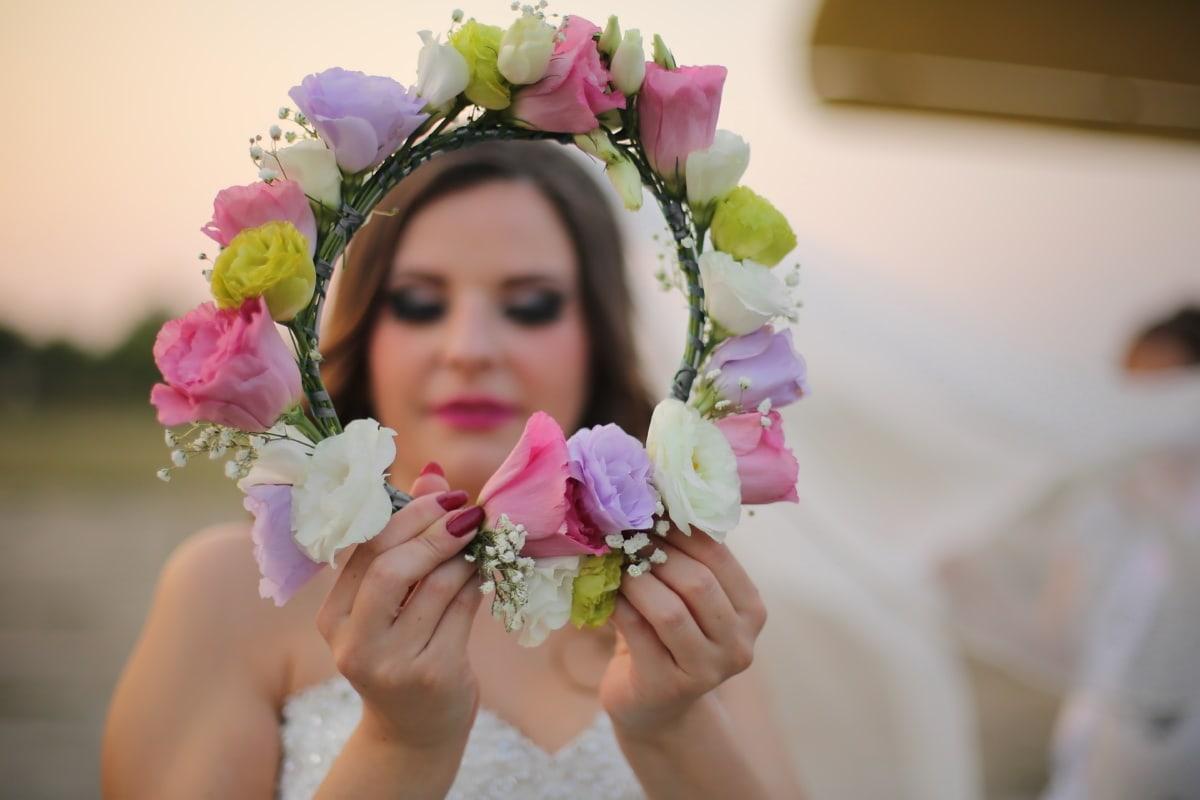 Braut, Hochzeitsstrauß, Hände, verwischen, Gesicht, Anordnung, Blumenstrauß, Blumen, Blume, Dekoration