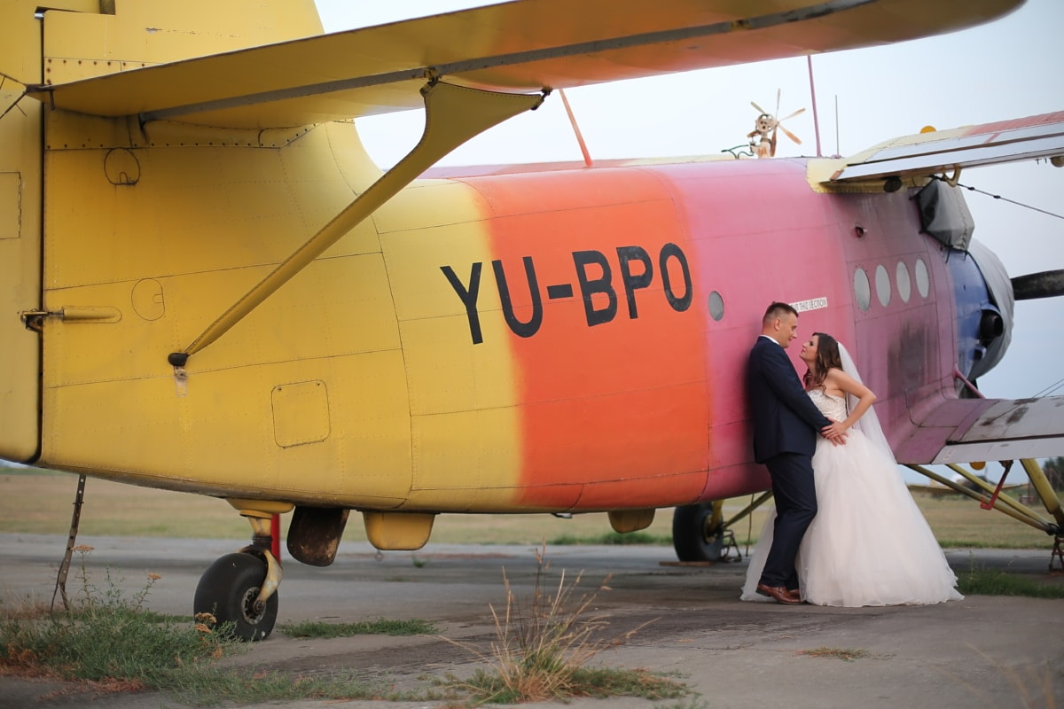 aircraft engine, biplane, groom, bride, romance, pilot, airplane, airport, aircraft, flight