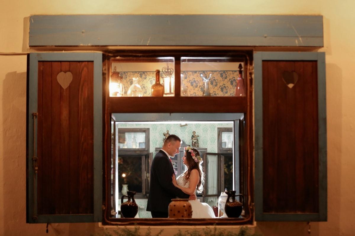 groom, bride, nostalgia, window, romance, building, man, interior, people, embrace