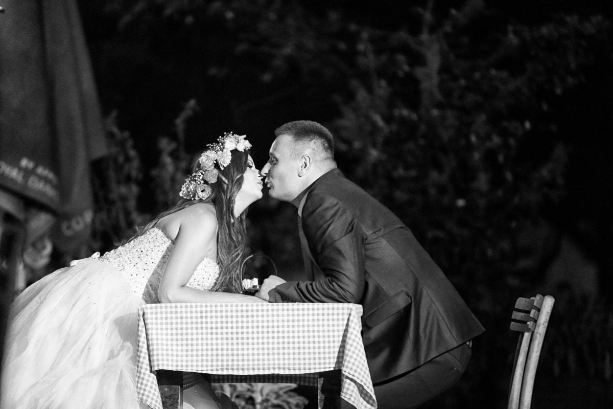 dinner table, kiss, husband, wife, wedding, wedding dress, groom, bride, love, romance