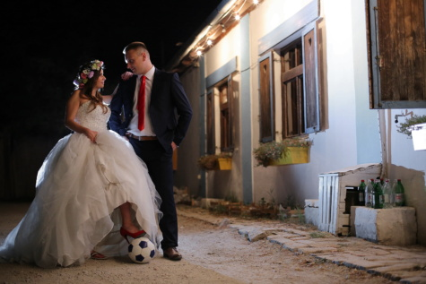 bride, groom, football player, village, soccer ball, street, villager, wedding, married, dress