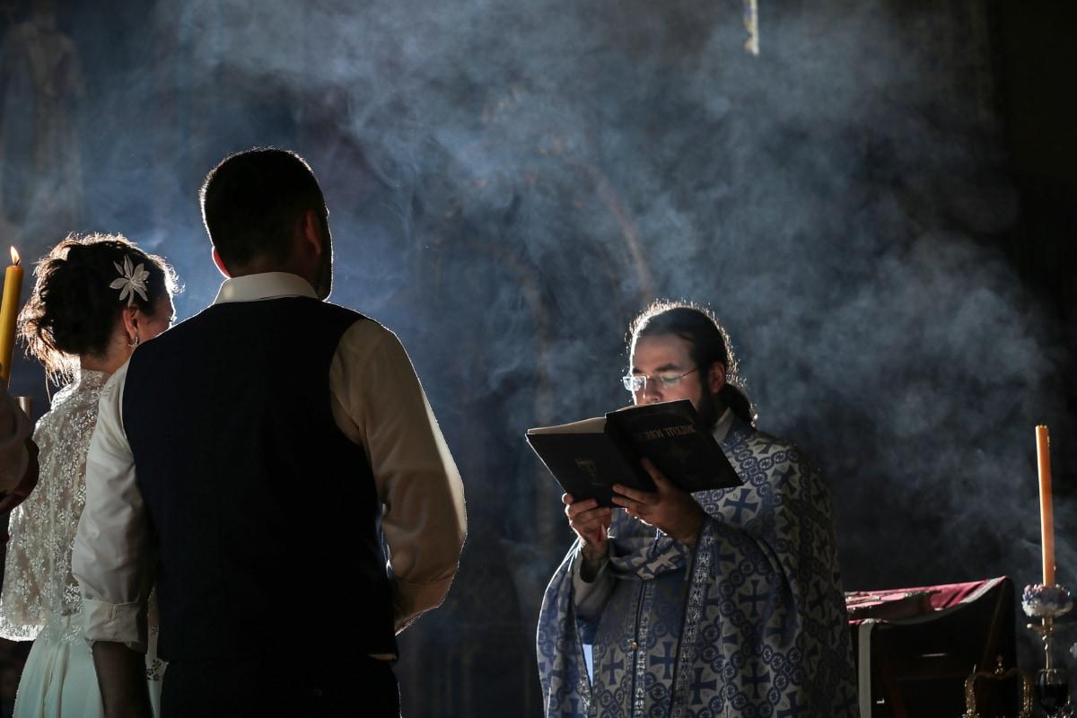 casamento, Padre, cerimônia, Bíblia, noivo, noiva, pessoas, fumaça, homem, mulher
