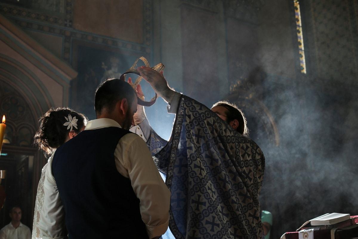 baptême, couronnement, prêtre, gens, religion, homme, cérémonie, bougie, Église, femme