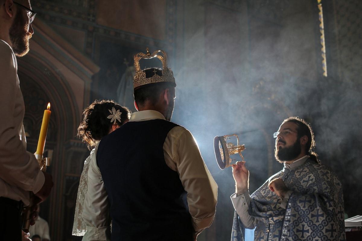 mariage, prêtre, mariage, couronnement, religion, homme, gens, fumée, flamme, Groupe